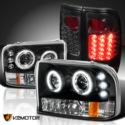 99-04 F250/350/450/550 Black Halo Projector Headlights+Smoke LED Tail Lamps
