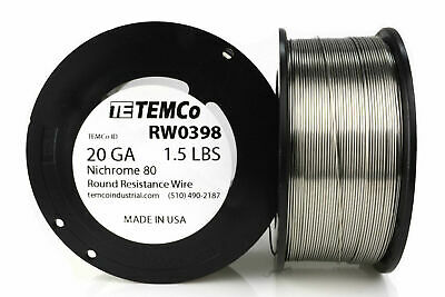 TEMCo Nichrome 80 series wire 20 Gauge 1.5 lb (961.5ft) Resistance AWG ga