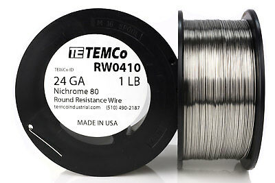 TEMCo Nichrome 80 series wire 24 Gauge 1 lb (865ft) Resistance AWG ga