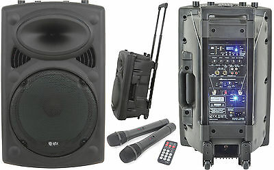 QTX Sound 400W Portable Trolley PA System 178.843 Twin Wireless Mics