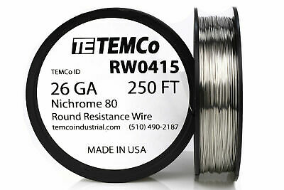 TEMCo Nichrome 80 series wire 26 Gauge 250 FT Resistance AWG ga