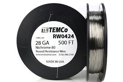 TEMCo Nichrome 80 series wire 28 Gauge 500 FT Resistance AWG ga