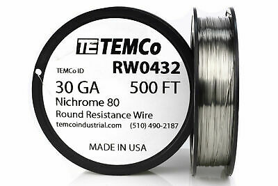 TEMCo Nichrome 80 series wire 30 Gauge 500 FT Resistance AWG ga