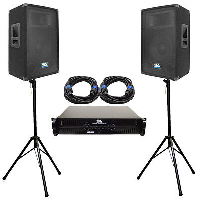 """Pair 12"""" PA DJ Speakers with Amplifer Stands & 25' Cables Pro Audio LoudSpeakers"""