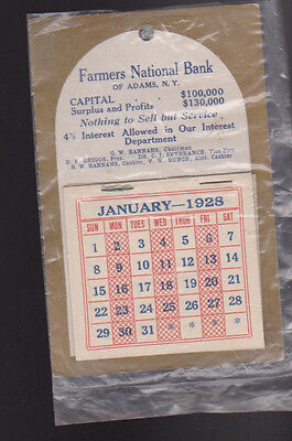 Farmers National Bank of Adams New York Calendar 1928