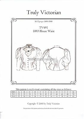 Truly Victorian Sewing Pattern for 1893-94 Shirtwaist Blouse TV491 All Sizes
