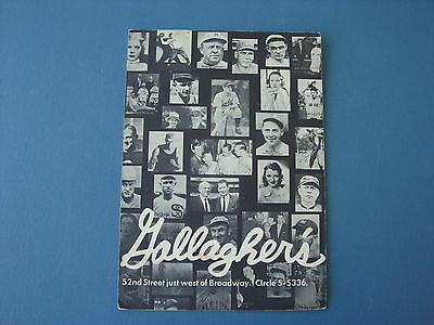 1978 Gallagher's Steakhouse Sports Menu New York City Gallaghers Baseball NYC