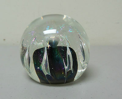 VINTAGE SIGNED CLEAR & IRIDESCENT ART GLASS PAPERWEIGHT, c. 1988