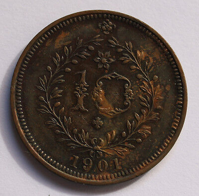 Azores 10 Reis, 1901 Portugal Carlos I, circulated copper coin, very nice