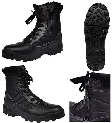 Black Men Combat Military Army Shoes High Ankle Cadet Patrol Work Security Boots