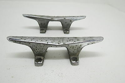 Pair 6 Inch Old Chrome Ship Boat Dock Cleats Chocks (#1175)