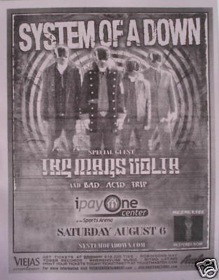 System Of A Down 2006 San Diego Concert Tour Poster