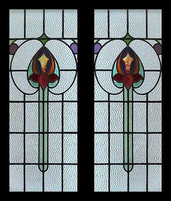 Rare Art Nouveau Flower Petal Pair Antique English Stained Glass Windows