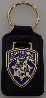 California Highway Patrol CHP patch Key Ring Leather Fob CA state police
