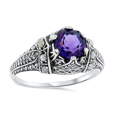 Antique Victorian Design Hydro Amethyst And Pearl .925 Sterling Silver Ring,#110