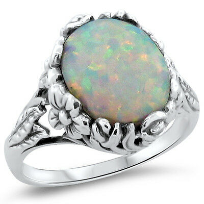 Lab Opal Cabochon Antique Art Nouveau Style .925 Sterling Silver Ring,      #275