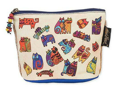 New LAUREL BURCH Cosmetic Bag FLOATING CATS FELINE Kitten Art MAKEUP CASE Pouch