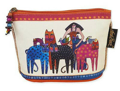 New LAUREL BURCH Cosmetic Bag FRIENDS CATS FELINE Kitten Art JEWELRY CASE Pouch
