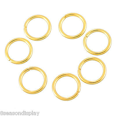100PCs Stainless Steel Circle Jump Rings Gold Plated Jewelry Findings 6mm