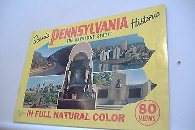 ~PENNSYLVANIA~THE KEYSTONE STATE~80 VIEW COLOR SOUVENIR  BOOKLET~