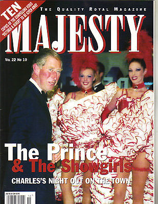 PRINCE CHARLES UK Majesty Magazine 10/01 Vol 22 No 10 SHOWGIRLS