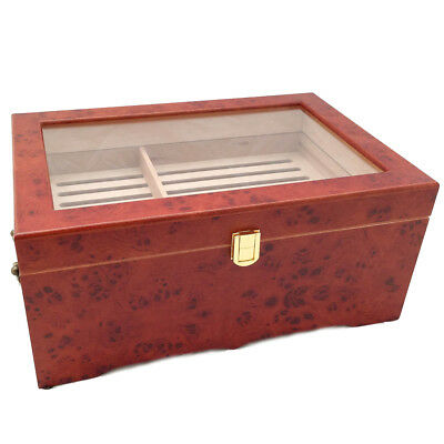 CLEAR TOP 150 ct LUXURY BURLWOOD CIGAR HUMIDOR BURLWOOD