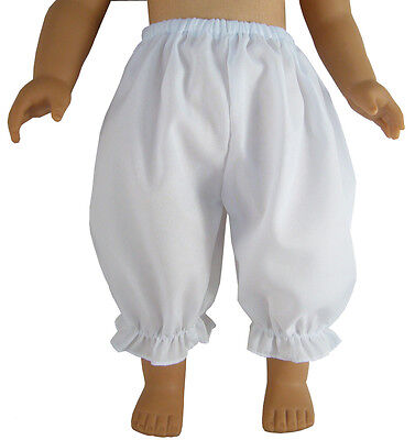 """Basic Plain White Bloomers made for 18"""" Dolls such as American Girl Doll Clothes"""