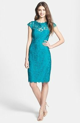 $150 ML MONIQUE LHUILLIER LACE OVERLAY SHEATH DRESS SIZE 10 TEAL