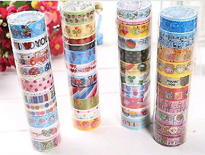 10Pcs Lots New Rolls Mixed Cartoon Deco Washi Tape Adhesive Scrapbooking Sticker