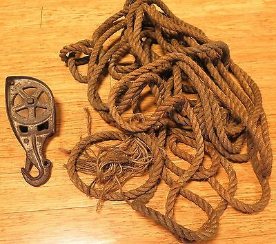 EARLY 1900's PORT ADELAIDE CAST IRON & WOODEN PULLEY & 50FT MANILA ROPE.