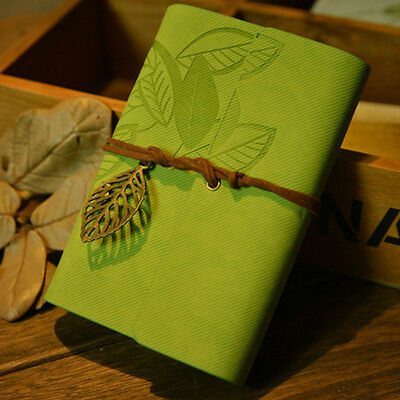 Vintage Leaf Leather Cover Loose Leaf Blank Notebook Journal Diary New Stylish