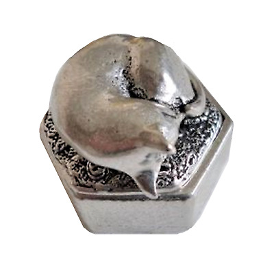 Cat Sleeping Hexagonal Pewter Trinket Box - Hand Made In Cornwall