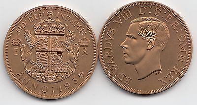 Fantasy Crown Size Coin portrait of Edward VIII & date 1936 Great Britain.