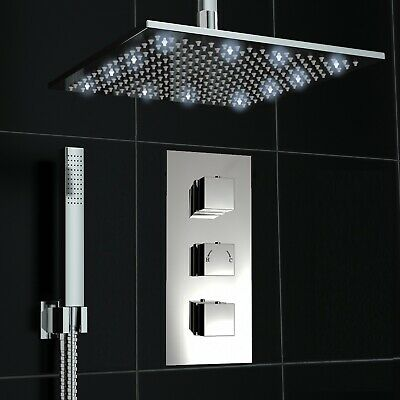 Concealed 2 Way Chrome LED Square Ceiling 300mm Thermostatic Mixer Shower Kit