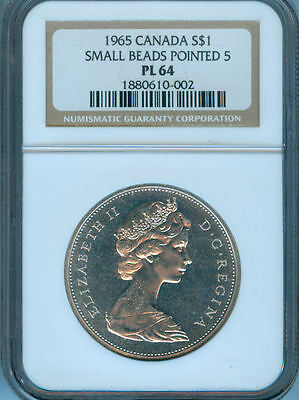 1965 Canada Silver Dollar  Ngc Pl-64 Small Beads Pointed 5