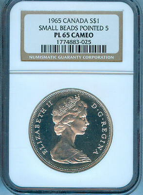 1965 Canada Silver Dollar  Ngc Pl-65 Cameo Small Beads Pointed 5