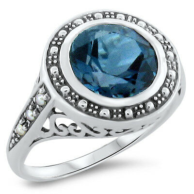 3 Ct. Genuine London Blue Topaz Victorian Style .925 Sterling Silver Ring,  #289