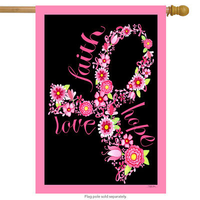 "Faith Hope Love House Flag Pink Ribbon Breast Cancer Awareness Floral 28""x40"""