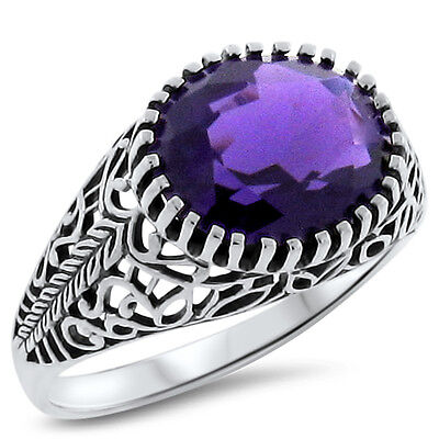 3.5 Ct. Purple Lab Amethyst Antique Design .925 Sterling Silver Ring,       #294