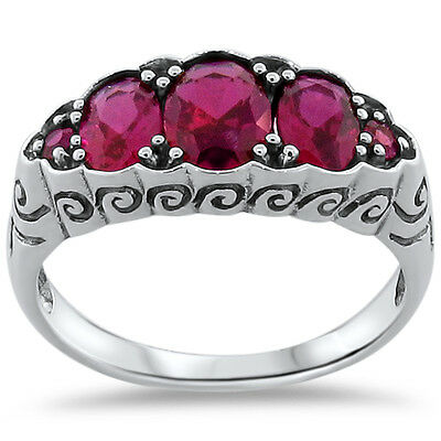 Antique Art Nouveau Style Red Lab Ruby .925 Sterling Silver Ring,           #254