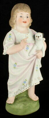 Antique Victorian Heubach Happy Girl W Puppy Dog Doll Bisque Figurine Germany