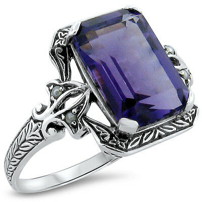 4 Ct. Lab Amethyst Pearl Antique Victorian Design .925 Sterling Silver Ring,#207