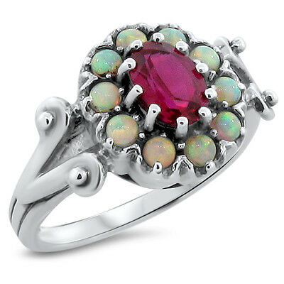 Red Lab Ruby & Opal Antique Victorian Design .925 Sterling Silver Ring,     #205