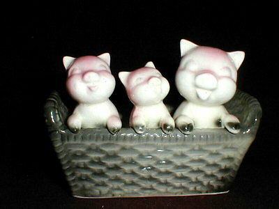 Vintage Three Little Pink Pigs in Trough Planter- Japan