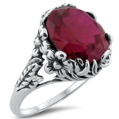 6 Ct. Red Lab Ruby Antique Nouveau Design .925 Sterling Silver Ring,        #305