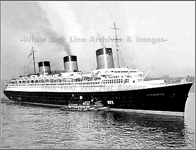 Photo: SS Normandie In NY Harbor With Tugs, 1935