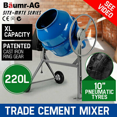 Baumr-AG 210L Portable Cement Concrete Mixer Electric Construction Sand Gravel
