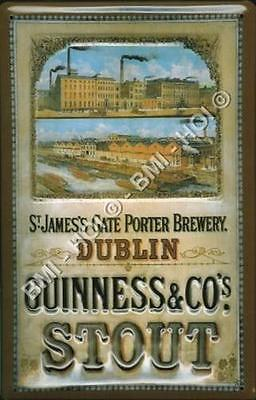 """Guinness St.James Gate Brewery old advert on metal sign LARGE 12"""" x 8"""" inches"""