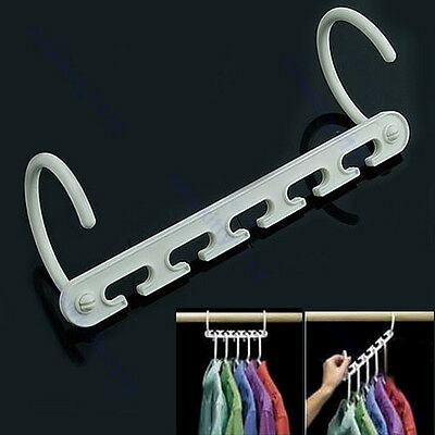 2 Pcs Space Saver Wonder Magic Clothes Hangers Closet Organizer Hooks Racks New