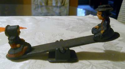 Teeter Totter Seesaw Cast Iron Amish Boy & Girl on Seesaw Vintage